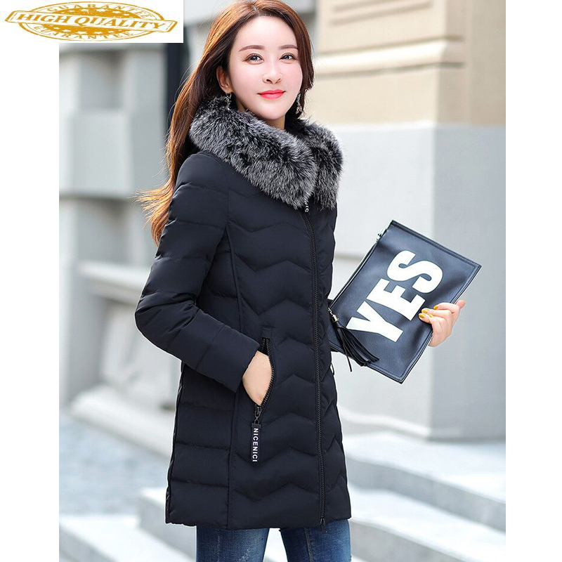 Winter Women's Down Jacket Plus Size Real Fox Fur Collar Long Coat Duck Down Jacket Women Coats For 2020 18563 KJ2478