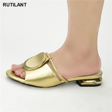 Fashion Women Mid Heeled with Shallow Mouth Square Head Shoes Ladies Slippers Sexy Woman Shoe Sandals 2020 Sexy Platform Pumps