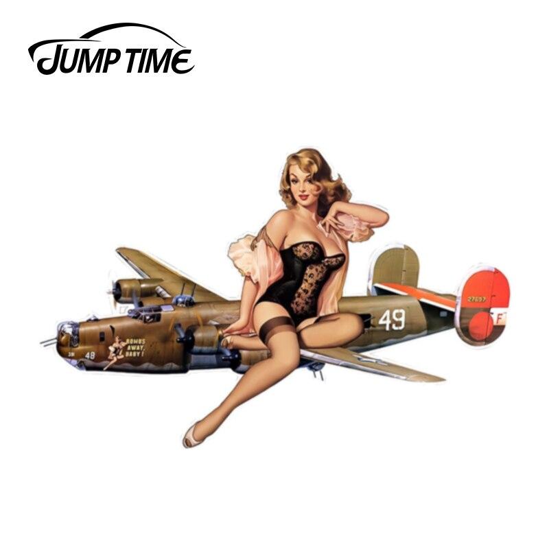 JumpTime 13 см x 8,3 см для самолета, сексуальная наклейка JDM для девушек, креативные автомобильные наклейки, водонепроницаемые аксессуары, наклейк...