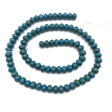 85pcs 5x6mm Bohemian Natural Gold Line Blue Wheel Beads for Jewelry Making  Diy Spacer Stone