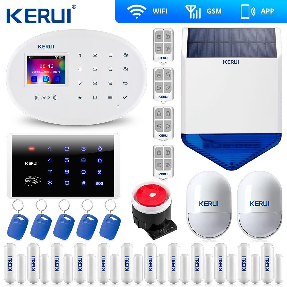 Kerui w20 wi fi gsm sistema de alarme em casa kit segurança teclado sem fio rfid controle remoto sirene solar keyb