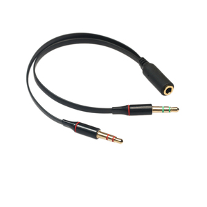 3,5mm hembra a 2 macho auricular chapado en oro Mic Audio Y Splitter Cable plano negro/blanco Cable adaptador para Laptop PC