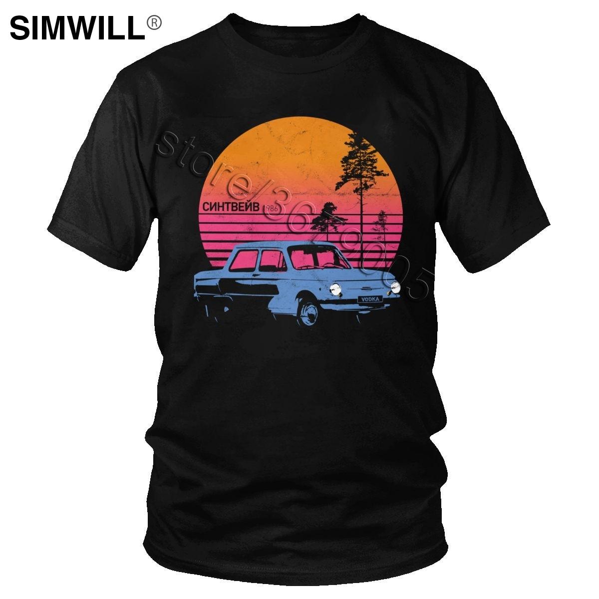 Russian Synthwave Vodka Slav Car T Shirt Classic Cotton Tee Men Short Sleeved Aesthetic Vintage Retrowave 80s Graphic T-shirt