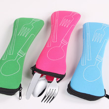Portable Tableware bag cutlery bag Dinner Set Travel packaging storage box Dinnerware picnic fork spoon bag(China)
