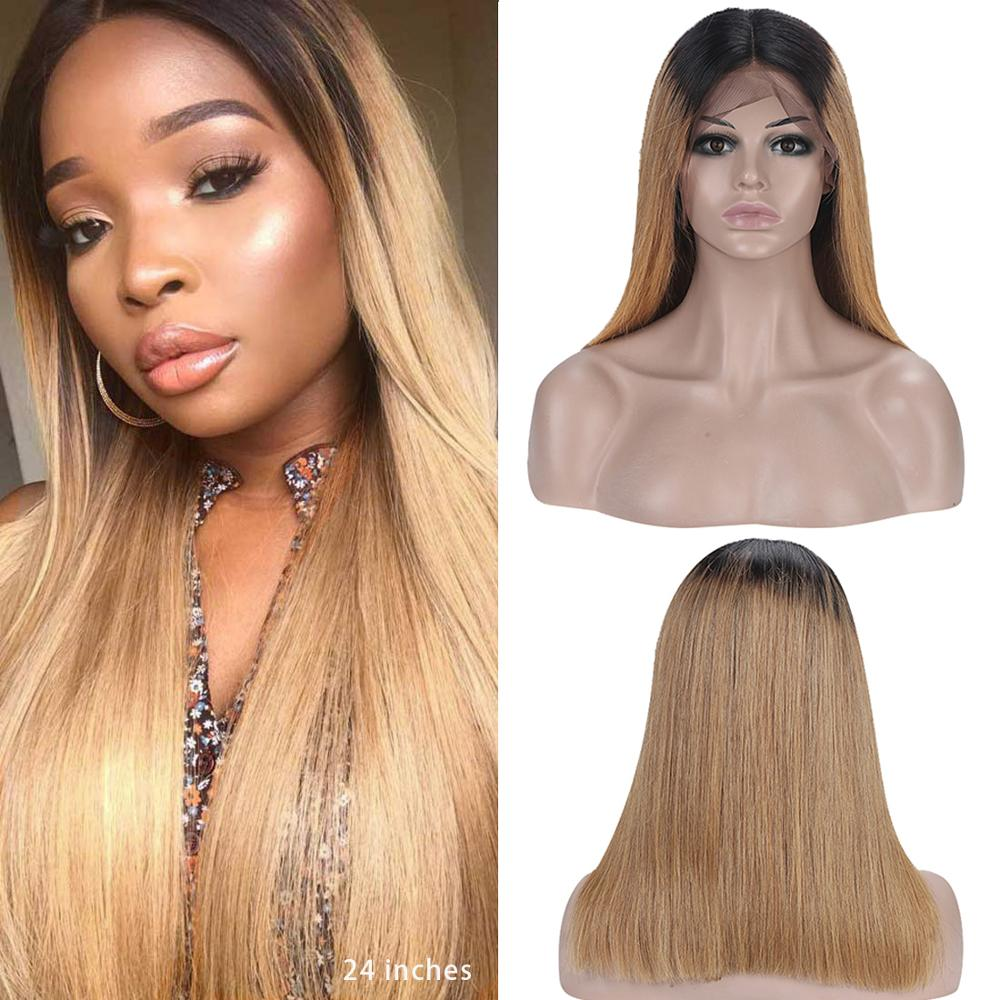 Dejavu Straight Wig Human-Hair Lace-Front Remy-Colored Ombre 2-Tone 13--4