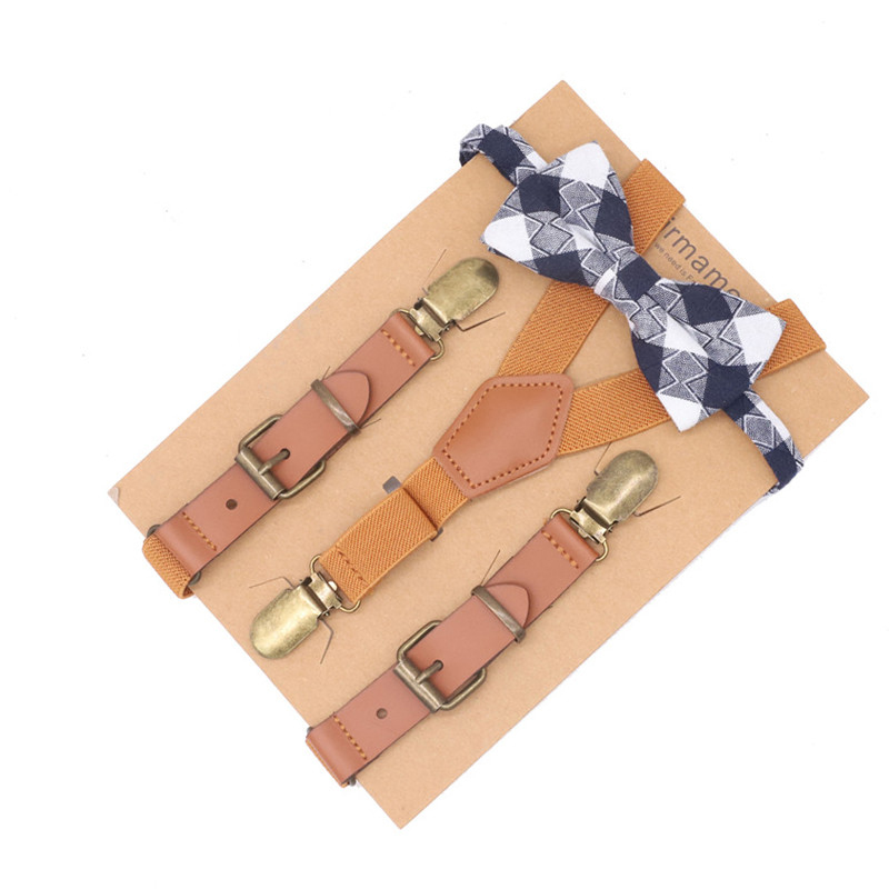 Kids Leather Suspenders Cutie Cartoon Bow Tie Set Ring Bearer Outfit Toddler Boy Wedding Use Clothes Strap Premium Package