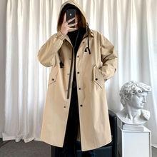 Spring And Autumn Korean Style Windbreaker Men's Fashion Loose Casual Mid-length Coat Jacket Men Streetwear Trench Jacket Men