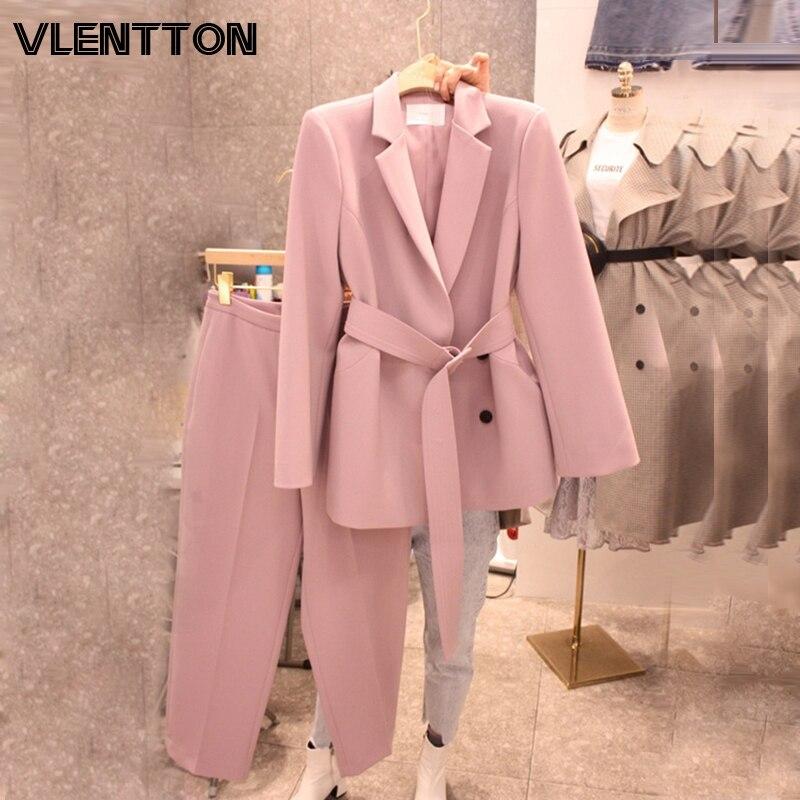 2020 Spring Autumn Pant Suit Women With Belt Office Lady Blazer Jacket Coat & Zipper Trousers Female Pink White Two Piece Set