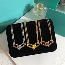 Original LOGO 1:1 S925 Simple and stylish U-shape Knot buckle Pendant Necklaces for Women Luxury brands Jewelry festival gift