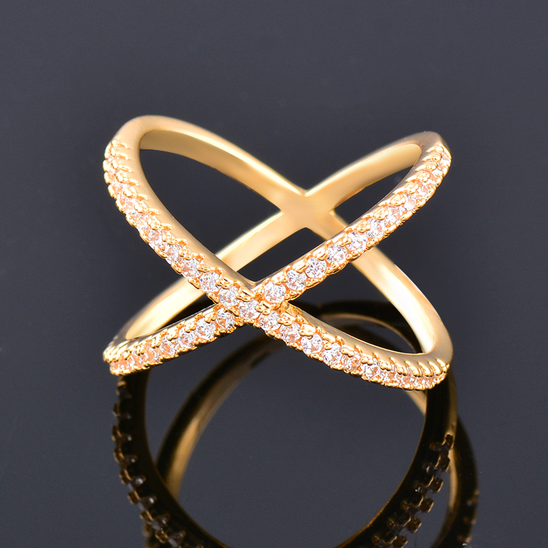 SINLEERY Trendy X Shape Cross Wedding Rings Rose Yellow Gold Silver Color Micro Paved Crystal Rings For Women Jewelry JZ008 5