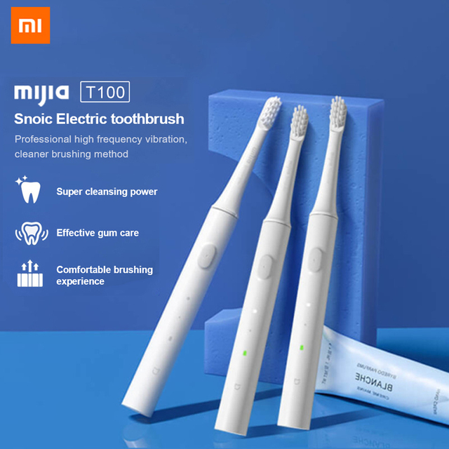 100% xiaomiMijia T100 소닉 전동 칫솔 성인 울트라 소닉 자동 칫솔 USB 충전식 방수 칫솔