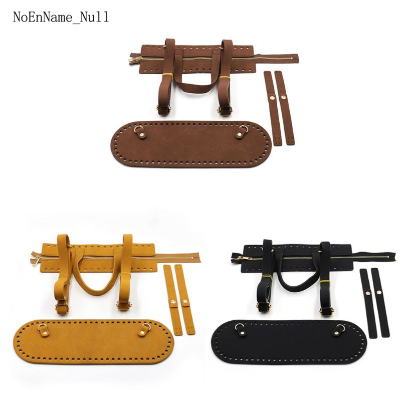 4Pieces/Set DIY Handmade Pouch Crochet Handbag Accessories Artificial Leather Zipper Strip Bag Bottom Shoulder Strap Replacement