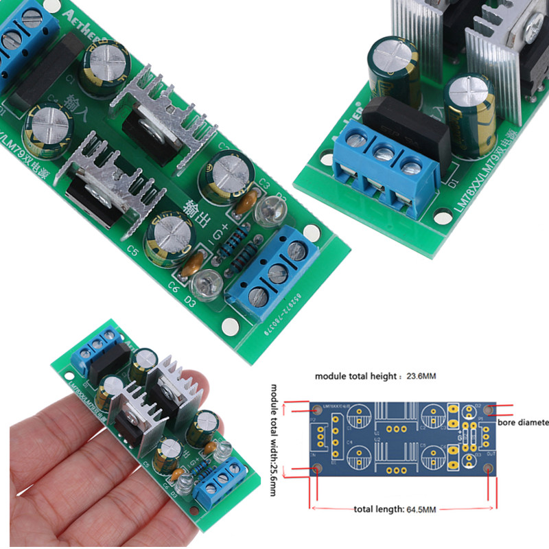 1 шт. DC 18 ~ 35 В AC 15 ~ 25 В LM7815 + LM7915 +-15 в модуль питания двойной регулятор напряжения выпрямитель мост модуль питания