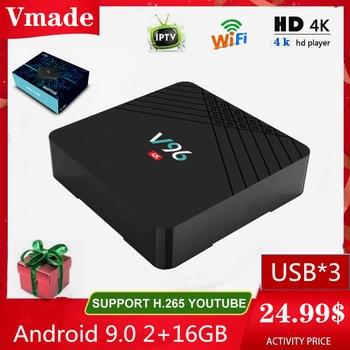 Android 9.0 2GB 16GB 2.4G WIFI Smart TV Box HD 4K Google TV Media Player V96 H6 MAX Youtube Netflix IPTV Mini Set-Top Box