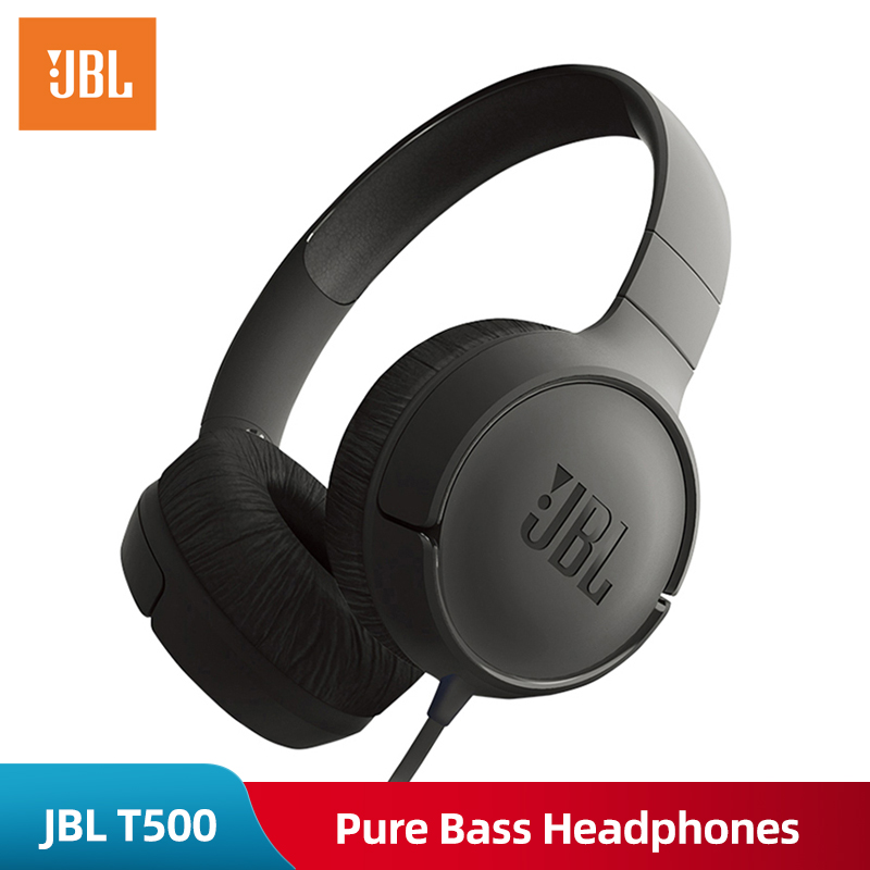Original JBL T500 Wired Pure Bass Headphone Sports Game Gym Headset Foldable Earphone 1 button Remote Light with Mic for iPhone