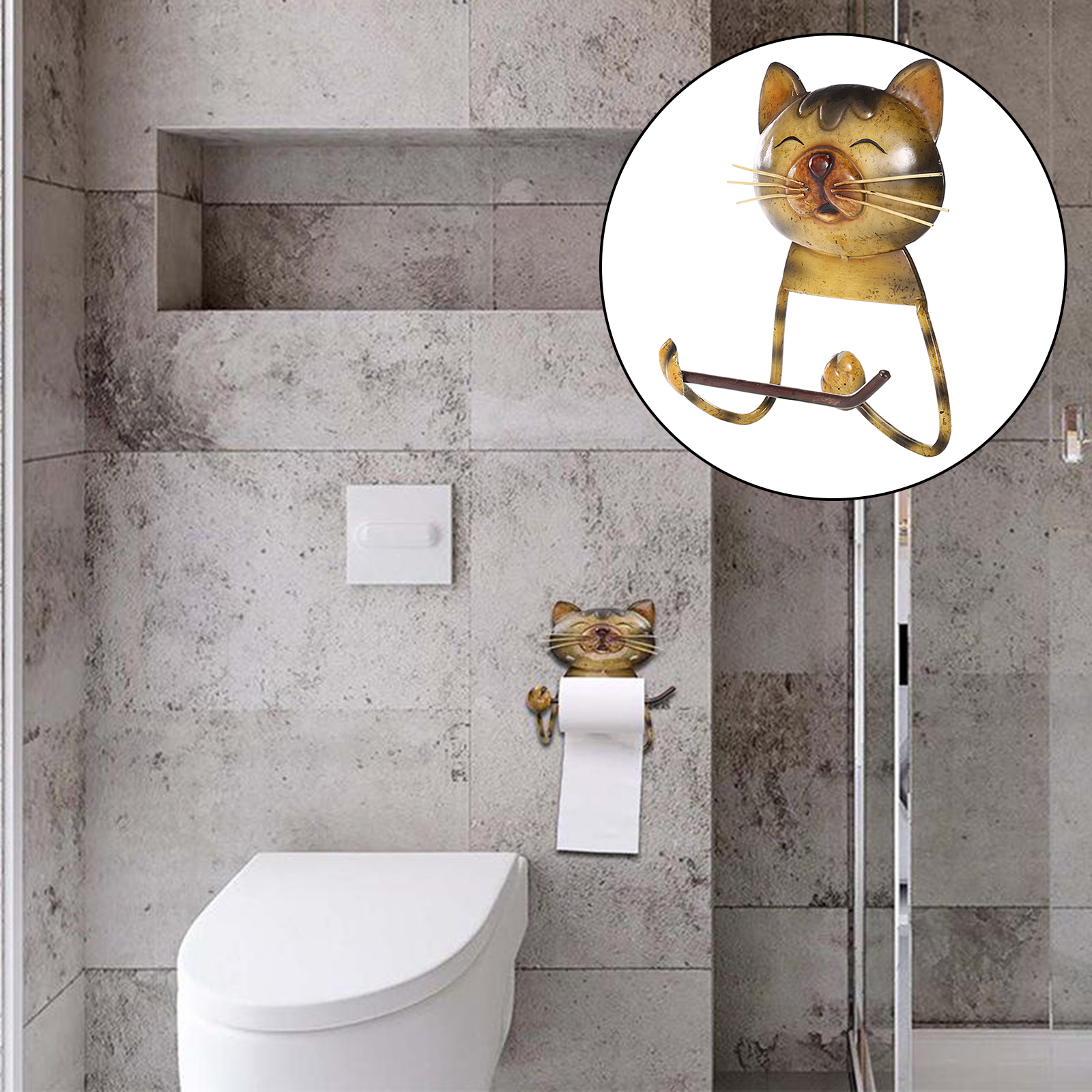 Toilet Wall Mount Toilet Paper Holder Metal Cute Cat Bathroom Kitchen Roll Paper Accessory Tissue Towel Holders