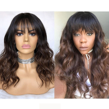 Color 4# Ombre Human Hair Wig with Bangs Glueless Brazilian Wavy Silk Base Scalp Top