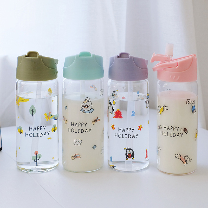 350ml Cute Glass Water Bottle Container for Children Kids Milk with Straw and Flip Lid Girl Leak Proof Travel Drink BPA Free Cup image