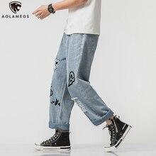 Aolamegs Jeans Men Graffiti Printing Loose Denim Pant Casual Hole Pants Hip Hop All-match Cotton Japanese Fashion Streetwear
