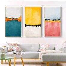Абстрактные разноцветные синие и желтые картины на холсте настенные