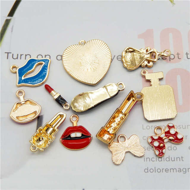 Julie Wang 12PCS Enamel Charms Alloy Mixed Girl Lipstick Lip Dress Shoes Necklace Pendant Bracelet Accessory Jewelry Making 4