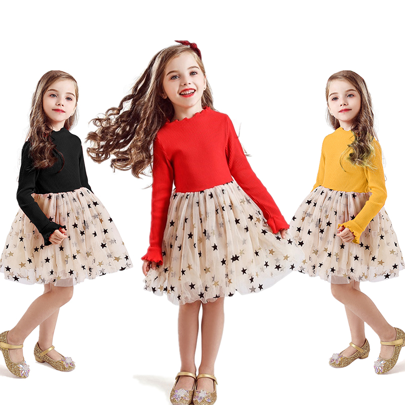 Kid Dresses For Girls Long Sleeve Girl Dress Sequin Star Children Dress Casual Dress Kid Dress Girl Party Wear Clothing Vestidos 1