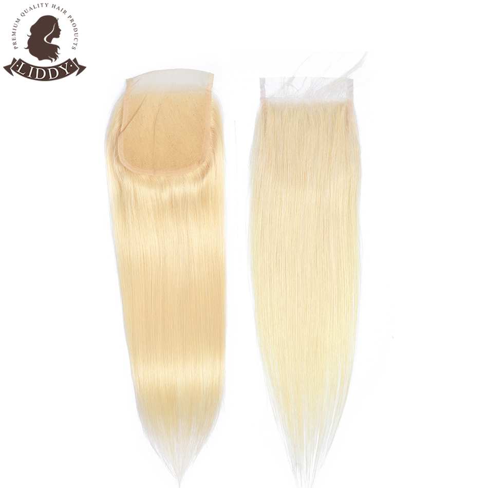 Liddy Straight 4x4 Lace Closure 100% Human Hair Closure Brazilian Hair Weaving 613 Blonde Non-remy Hair Lace Frontal Closure