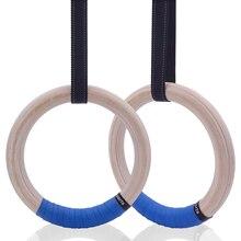 Hout Gymnastiek Ringen 25/28 Mm Met Verstelbare Gespen 1 5M Bandjes Voor Fitness Thuis Gym Crossfit pull Up Dips Spier Ups Training