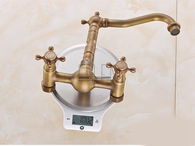 Vidric mural cuisine évier robinet Antique Bronze évier grue eau chaude froide mitigeur luxe Vintage balcon cuisine robinet