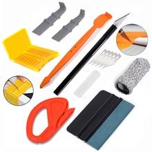 FOSHIO Kit de herramientas para coche, película de revestimiento de vinilo de fibra de carbono, tinte de Ventanilla, imán, adhesivo de escobilla de goma, juego de herramientas de envoltura