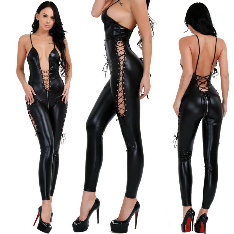Sexy Women Wet Look Leather Bodysuit Front And Side Lace Up Jumpsuit Clubwear Catsuit Slim Fit Fetish Costume
