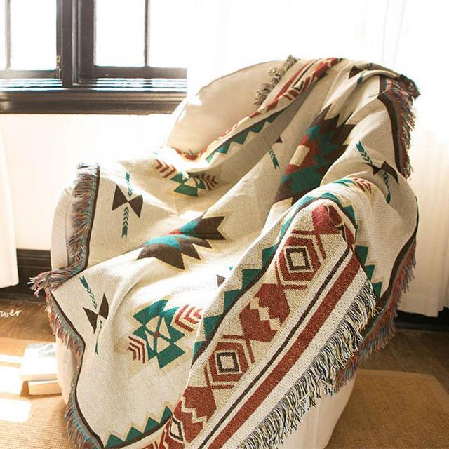 Ethnic Bohemian Knitted Throw Blanket picnic camping Sofa Covers Slipcover High Quality blanket car Travel Plane Blanket MV13*