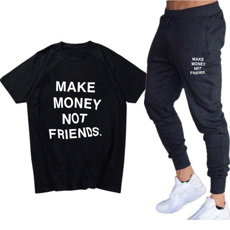Summer Streetwear Men 2 Piece Set MAKE MONEY NOT FRIENDS T Shirt Sets Casual Tracksuit T Shirts+Pants Menscotton Sweatpants Suit
