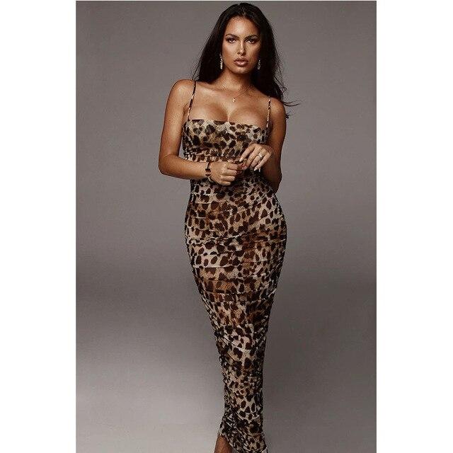 Sexy Leopard Print Snake Skin Dress Women Backless Elegant Bodycon Slim Pencil Dress Plus Size See Through Evening Party Dresses 5