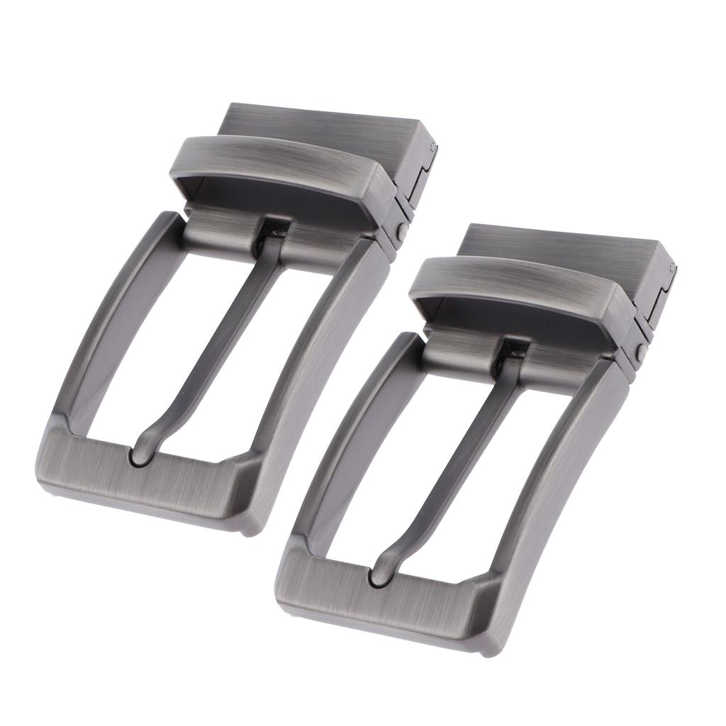 2pcs Men Pin Buckle Leather Belt Waistband Buckles Alloy Reversible Belt Buckle Replacemen Fits 33-34 Mm Belt