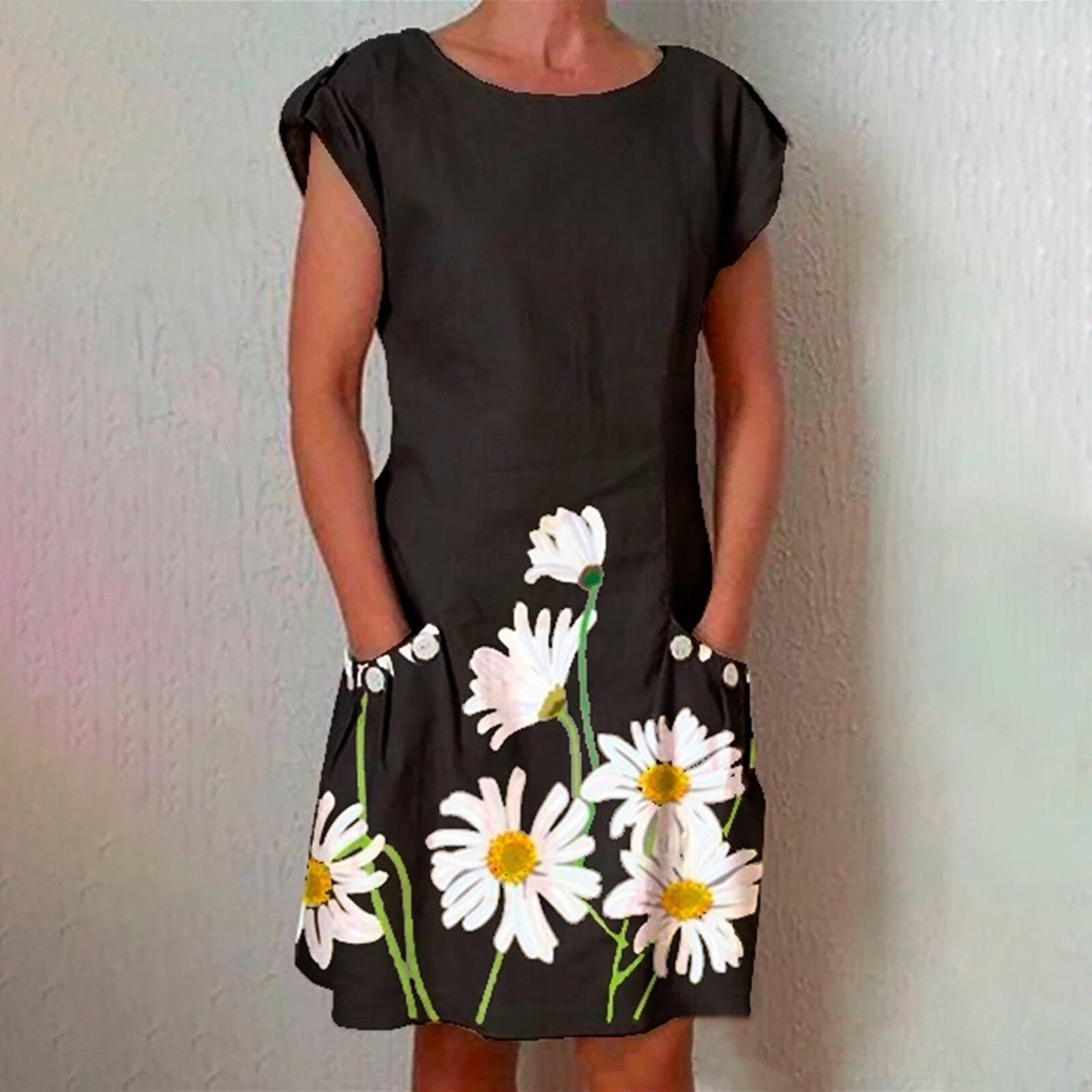 40# Sunflower Print Dress Women Cotton Linen Short-sleeved Pocket Knee-length Dress Casual Loose Summer Dress Vestido Mujer