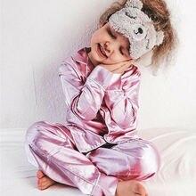 2020 Spring Autumn Baby Girls Pajamas Set Silk Satin Long sl