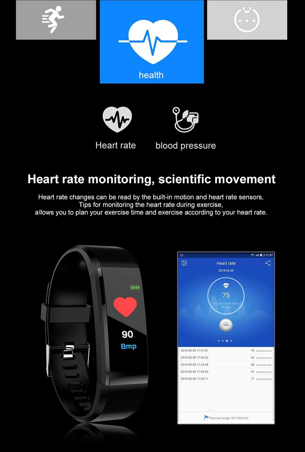 Hff9dc6af173443c1942e70a9bbb13ccfw Smart Bracelet Watch for Men Women 115 Plus Smart Wristband Fitness Tracker Pressure Sport Watch Heart Rate Monitor Band A2