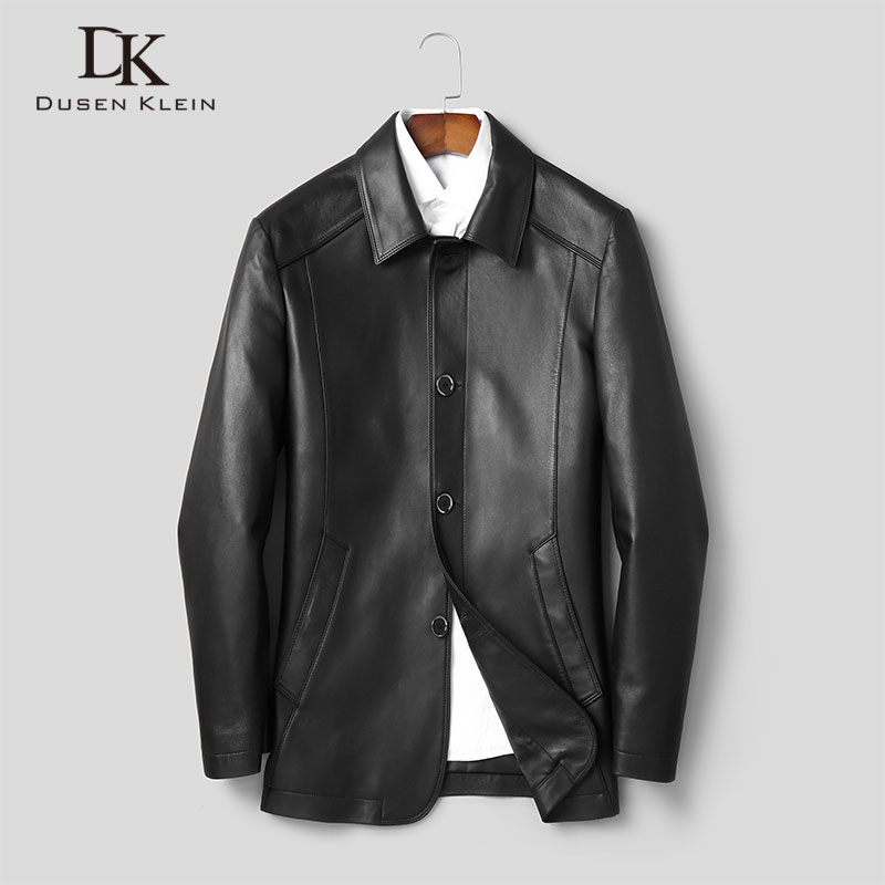 Men Genuine Leather Jacket Real Cow Skin Jackets Casual Black Pockets 2019 Autumn New Jacket For Man J1909