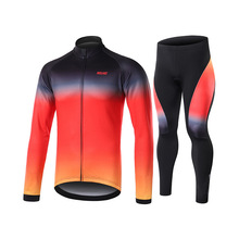 ARSUXEO 8 Colors Winter Thermal Fleece Cycling Clothing Men Bike Bicycle Jersey Set Long Sleeve Warm Road Mountain Suits