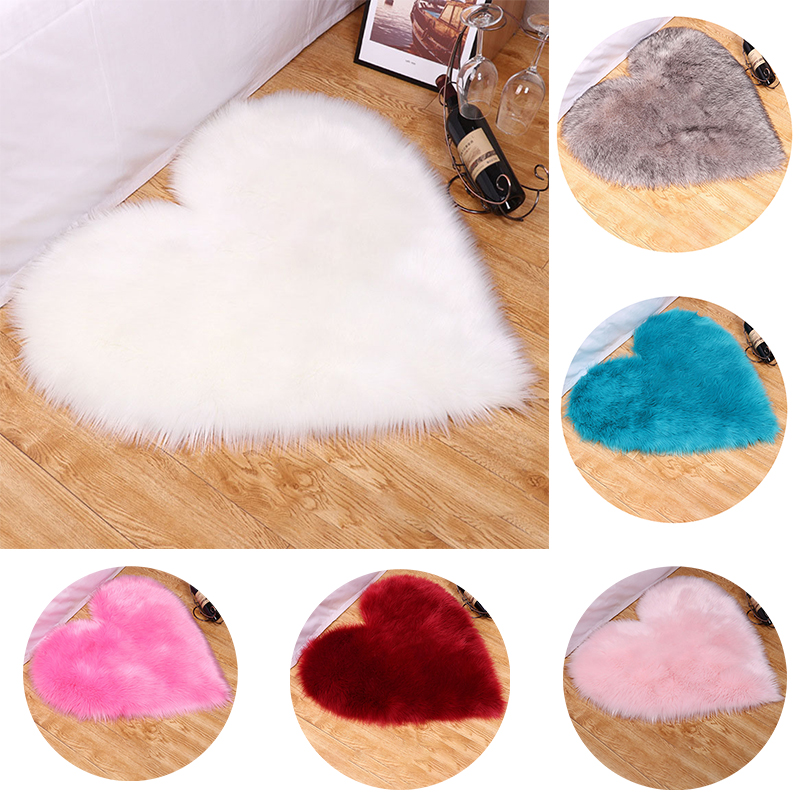 Love Heart Soft Fluffy Rug Shaggy Floor Mat Artificial Wool Faux Fur Mat Carpets for Home Living Room Mat Sofa Bedside Area Rugs image