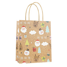 12pcs/pack Christmas Gift Bags Kraft Paper Present Bag Cute Candy New Year Packing Decoration