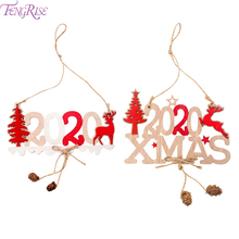 New 2020 Xmas Wooden Ornaments Christmas Decorations Years Tree Hanging Pendants