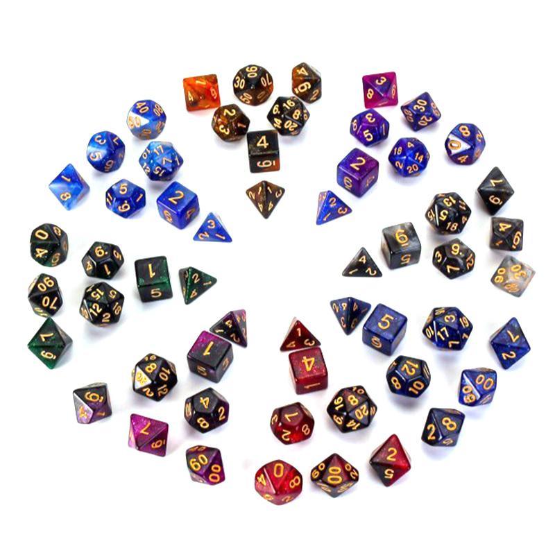 7 шт./компл. многогранные кубики многоцветный многогранные игра в кости для Подземелья и Драконы DND RPG MTG 4681012 20 D4-D20 настольная игра