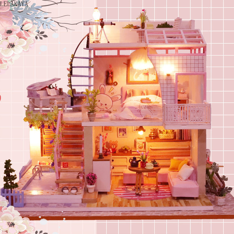Meet A Little Time Doll House DIY Wooden Dollhouse Assembly Model Building Kits Miniature With Furniture LED Light Handmade Toys