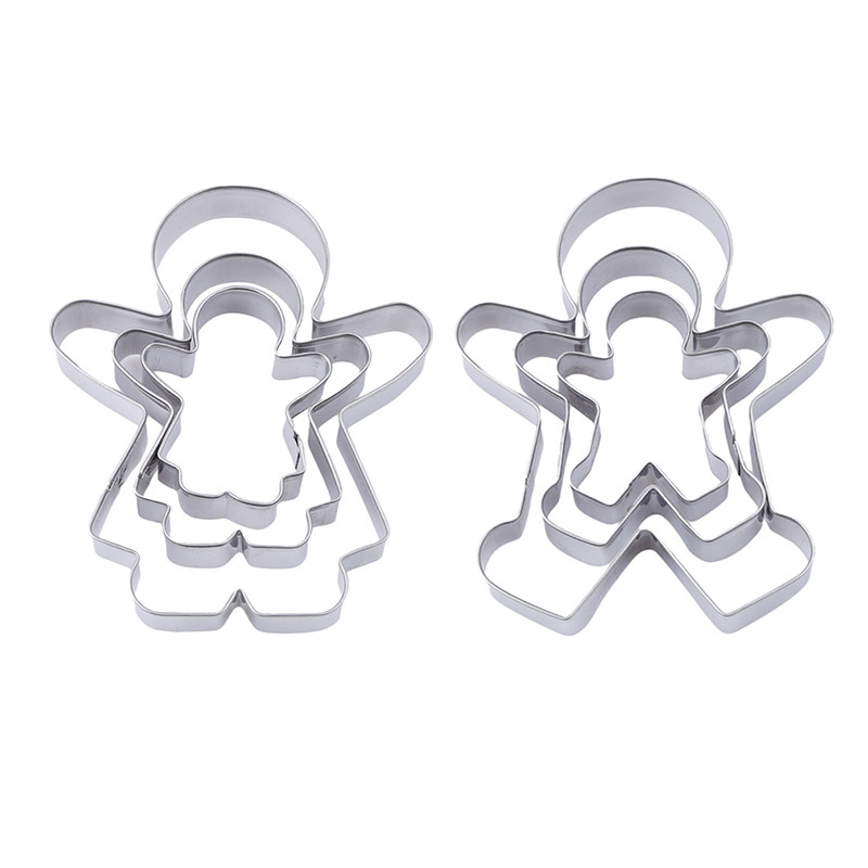 Stainless Steel Cookie Cutter Mold Creative Hot Sale Cookie Cutter Metal Boy Girl Suit Cake Rice Molded Gingerbread Man 3PCS