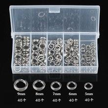 Qualidade 200 pces misturado rio duplo/split/anel de conexão sortido aço inoxidável equipamento de pesca/accessoies para iscas em branco