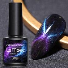 LEMOOC – vernis à ongles magnétique LED UV, Gel à tremper, œil de chat, brillant, paillettes, Design de beauté