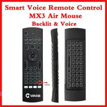 Backlight MX3 PRO Air Mouse Voice Remote Control 2.4G Wireless Keyboard MX3 Russian English IR Learning For H96 X96 Max TV BOX