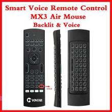 Retroiluminación MX3 PRO Air Mouse Control remoto por voz 2,4G teclado inalámbrico MX3 ruso inglés IR aprendizaje para H96 X96 Max TV BOX